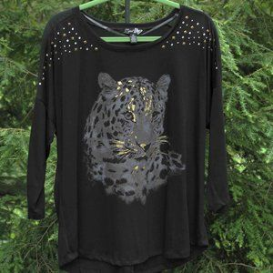Lena attractive leopard T-shirt with stud detail